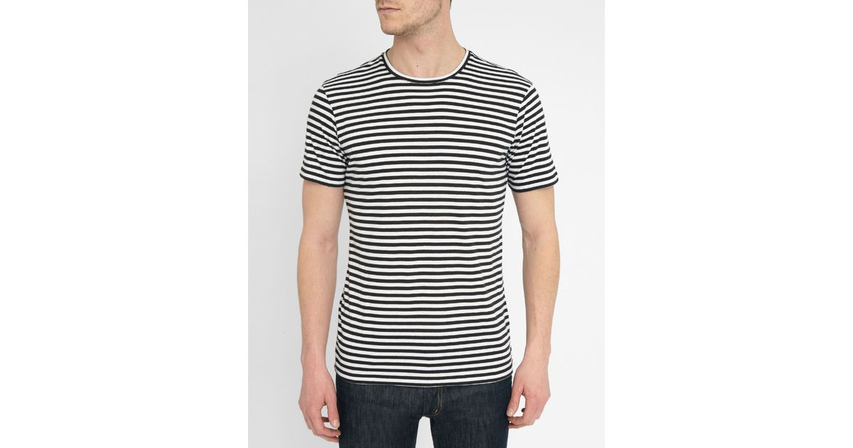 The Kooples White And Black Striped T Shirt In Black For