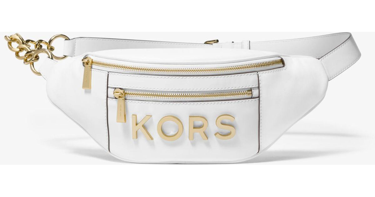 8b4120d9a682 Michael Kors Medium Embellished Leather Belt Bag in White - Lyst