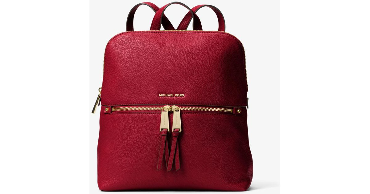 28c3b46435bf Michael Kors Rhea Medium Slim Leather Backpack in Red - Lyst