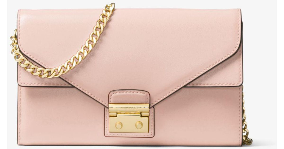 59e3384b675c98 Michael Kors Sloan Leather Chain Wallet in Pink - Lyst
