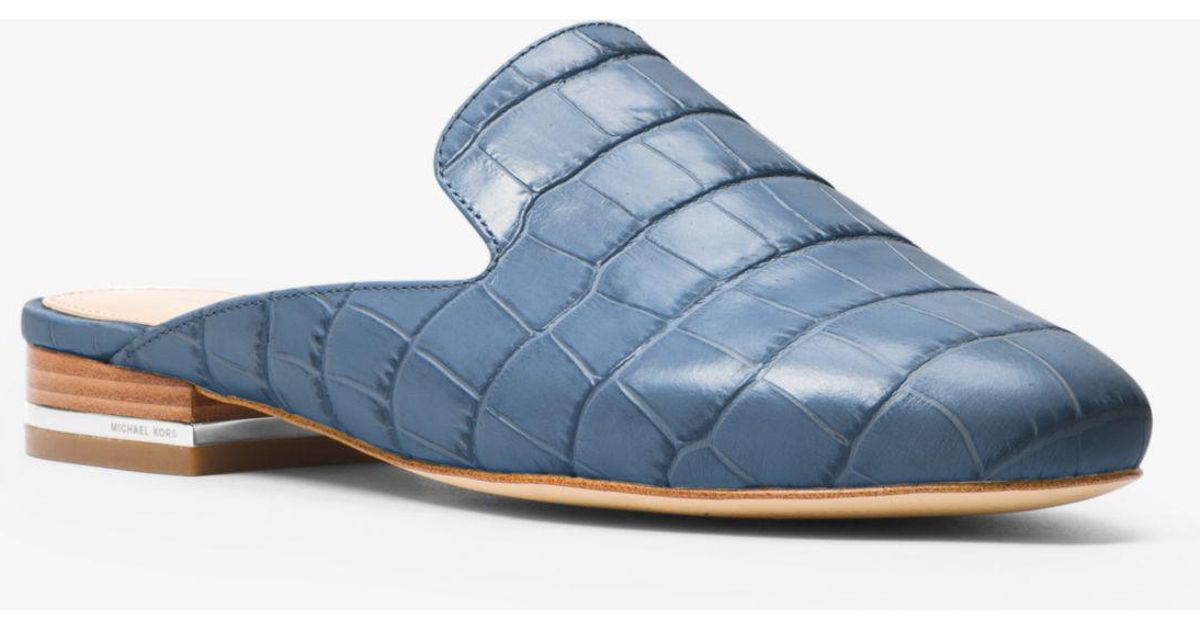 47cd8c852f0b Lyst - Michael Kors Natasha Crocodile-embossed Leather Mule in Blue