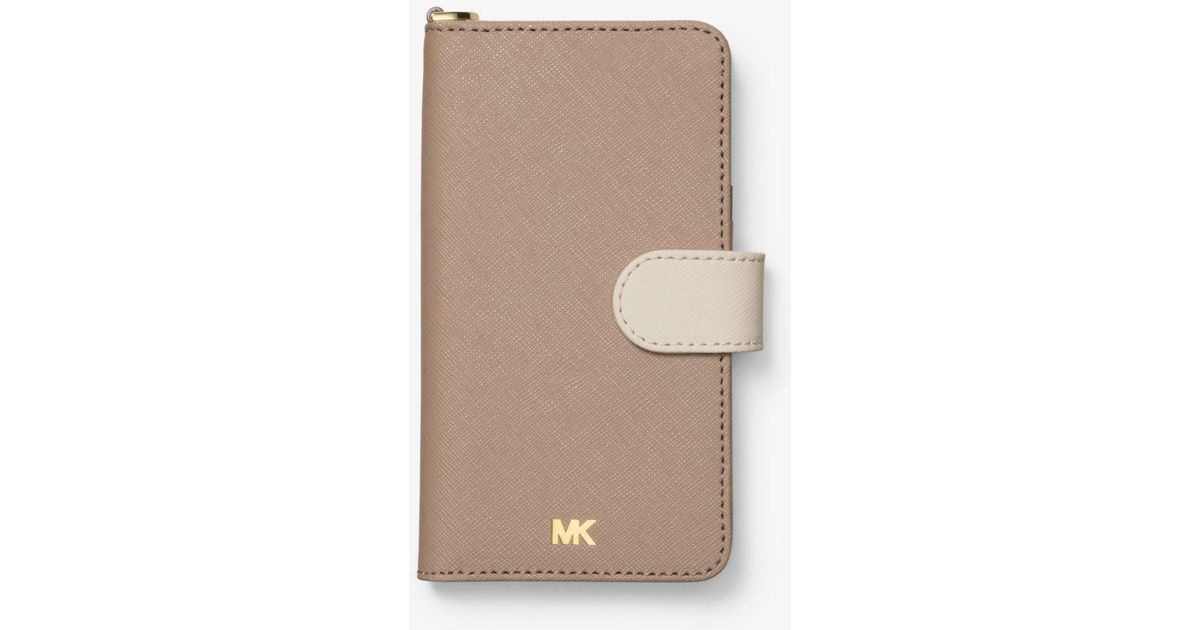 60513c258353 Michael Kors Color-block Saffiano Leather Folio Case For Iphone X - Lyst