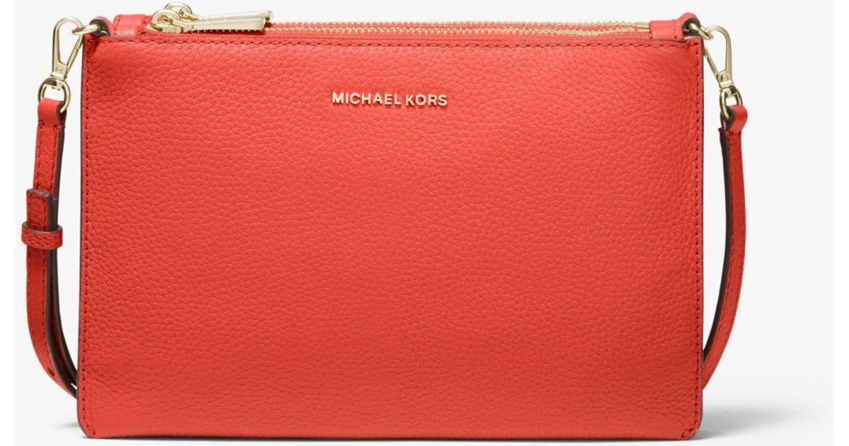 70da9da20a5c MICHAEL Michael Kors Adele Pebbled Leather Crossbody Bag in Pink - Lyst
