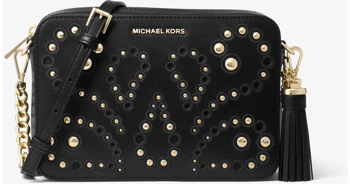 a270edfb1c62 Lyst - Michael Kors Ginny Medium Embellished Leather Crossbody in Black