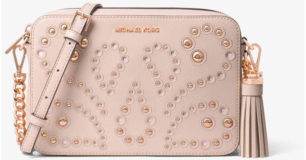 ac7be154cfa1 Michael Kors Ginny Medium Embellished Leather Crossbody in Pink - Lyst