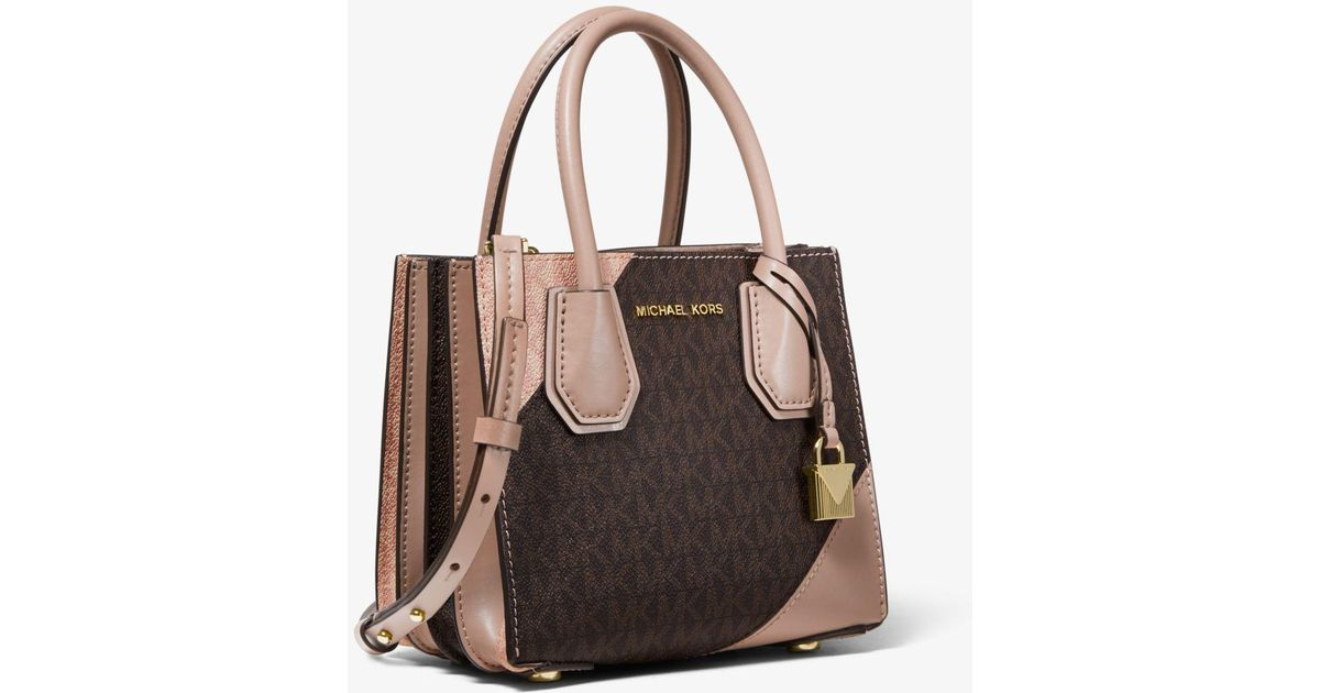 8b30ae69a6c01b Michael Kors Mercer Two-tone Logo And Leather Accordion Crossbody Bag in  Brown - Lyst
