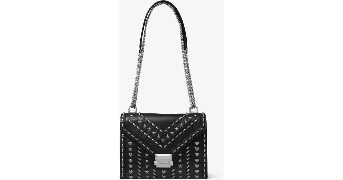8a1b4be90976 Lyst - Michael Kors Whitney Large Studded Leather Convertible Shoulder Bag  in Black
