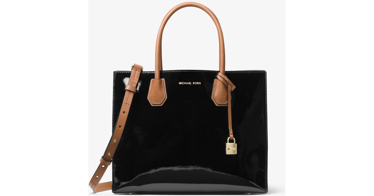 f1e5bfd8aeb5 Michael Kors Mercer Large Color-block Patent Leather Tote in Black - Lyst