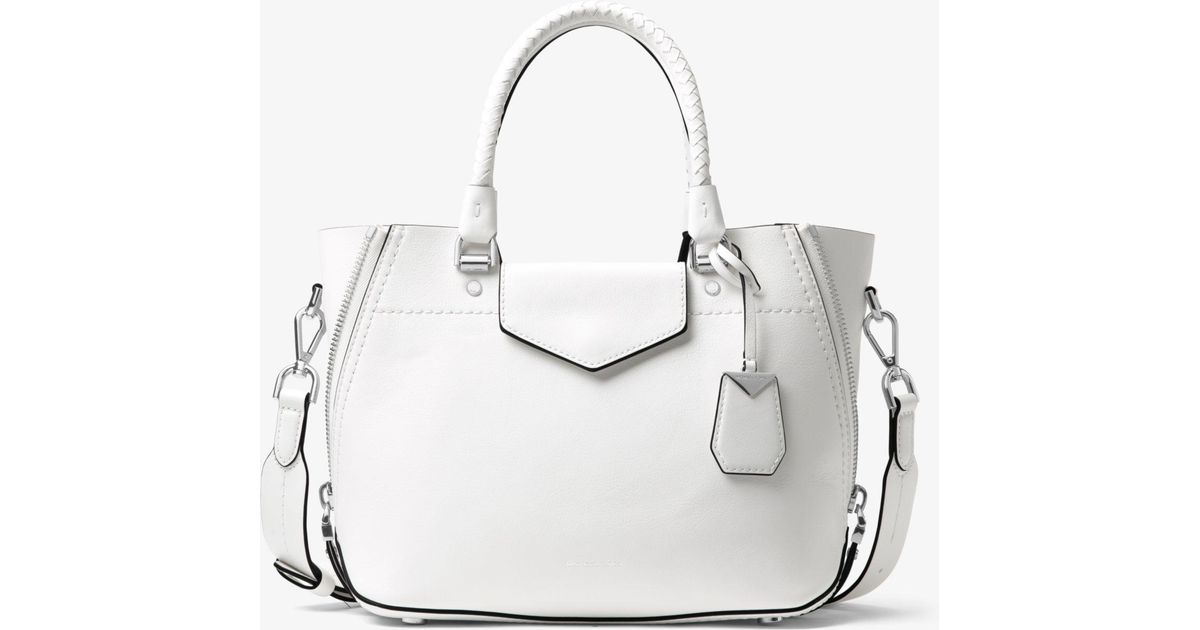2649e751fbee Lyst - Michael Kors Blakely Leather Satchel in White