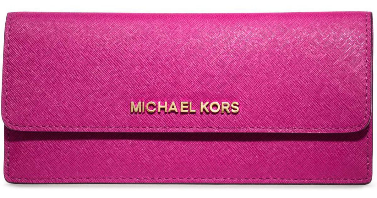 83a15daba5e0 Michael Kors Travel Slim Saffiano Leather Wallet in Purple - Lyst