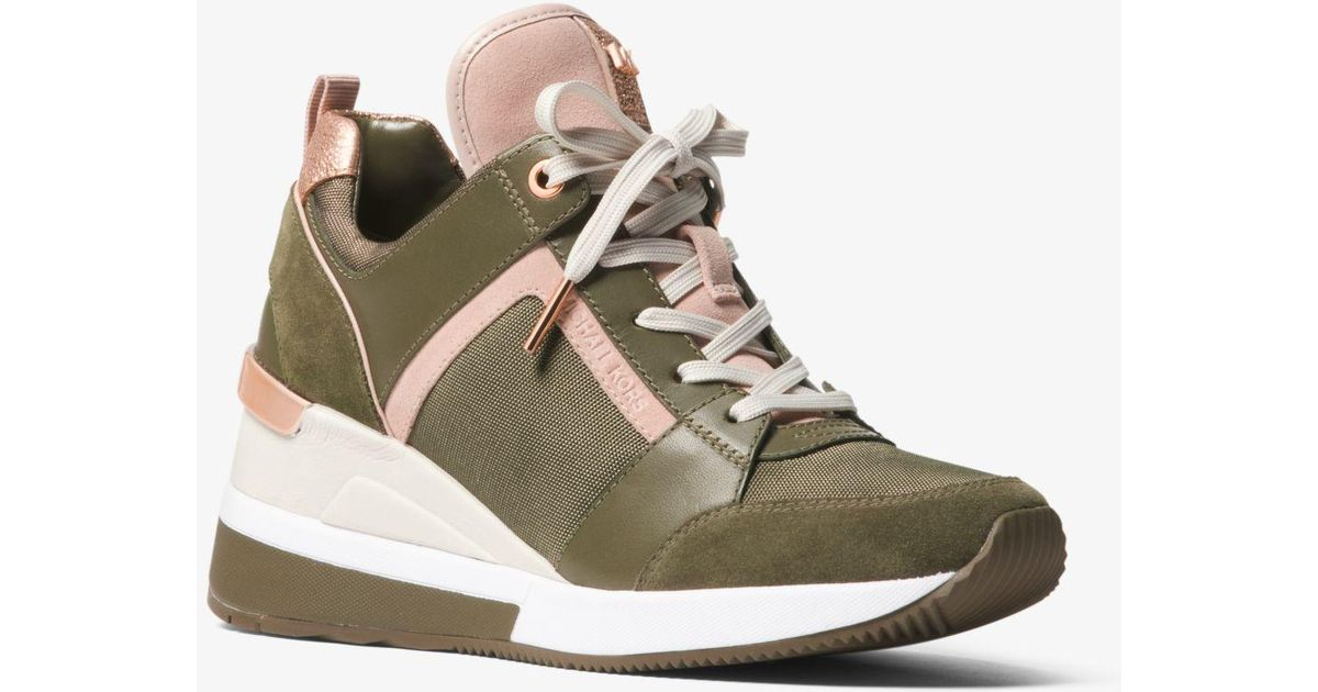 bd0479fe9fd Lyst - MICHAEL Michael Kors Georgie Canvas And Suede Sneaker in Green -  Save 25%