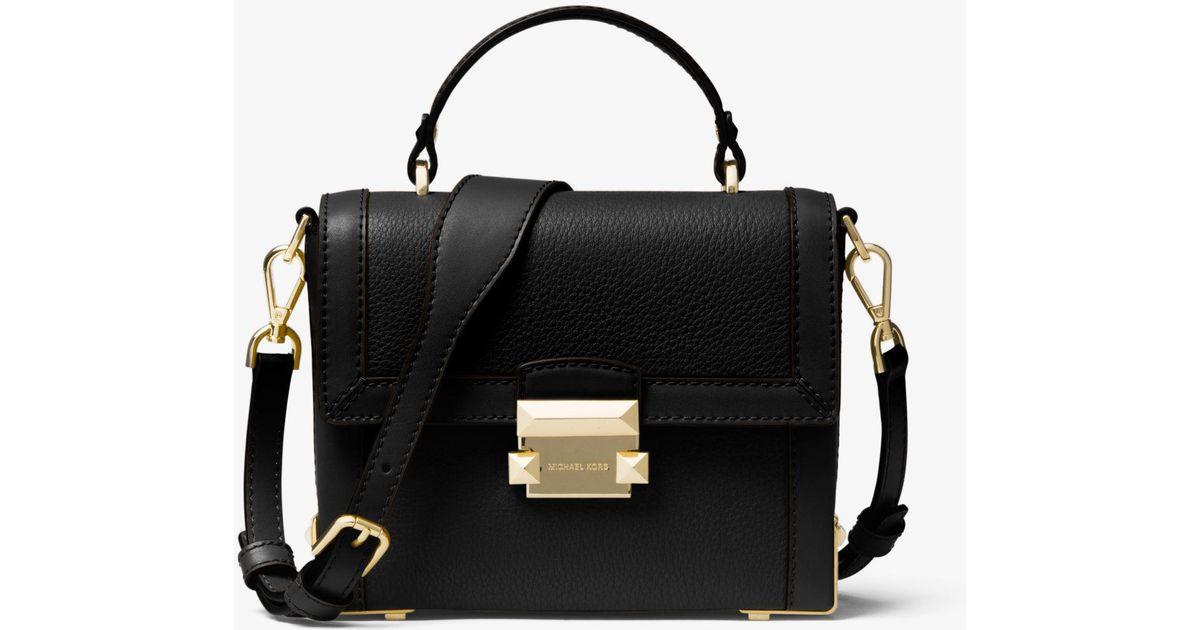 c28ab88fcdac Lyst - Michael Kors Jayne Small Pebbled Leather Trunk Bag in Black