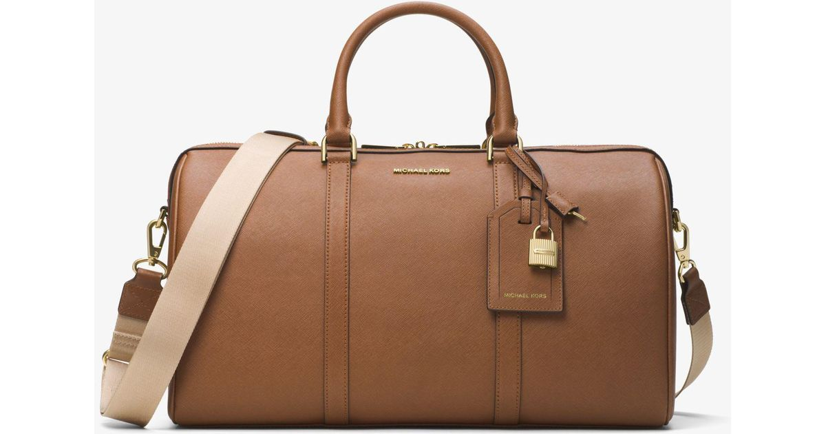 42d291b3259a Lyst - Michael Kors Jet Set Travel Large Leather Weekender in Brown