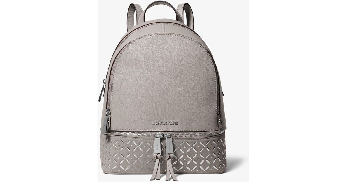 ef03a8091d8a Michael Kors Rhea Medium Embellished Leather Backpack in Gray - Lyst