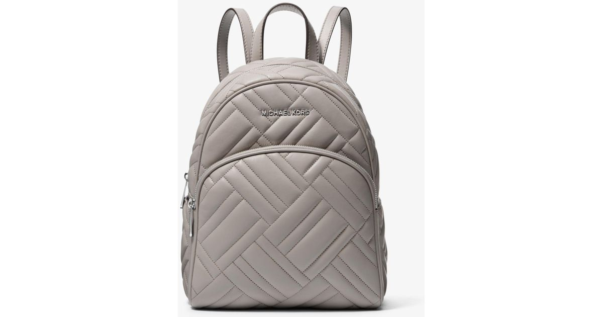 dff736359fa62 Lyst - Michael Kors Abbey Medium Quilted Leather Backpack in Gray
