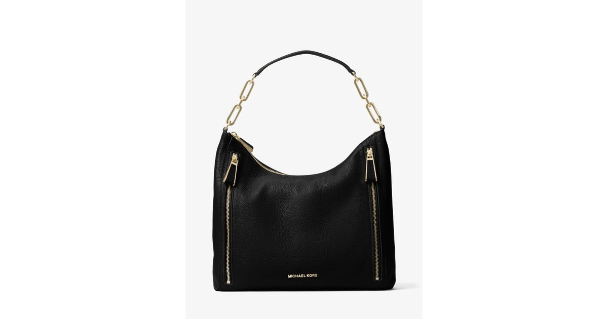 1caa8cc82a5a ... discount lyst michael kors matilda large leather shoulder bag in black  45f91 3b946
