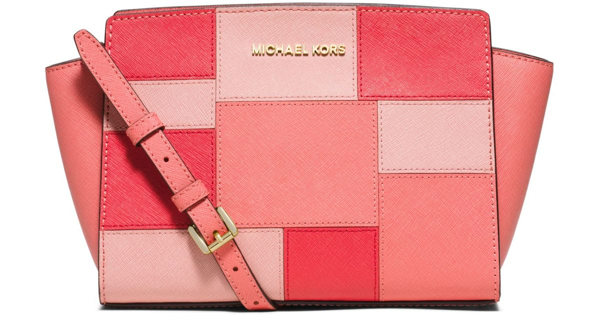 6dba9cd0b3c536 ... closeout lyst michael kors selma medium leather patchwork crossbody in  pink 9e3d2 41884