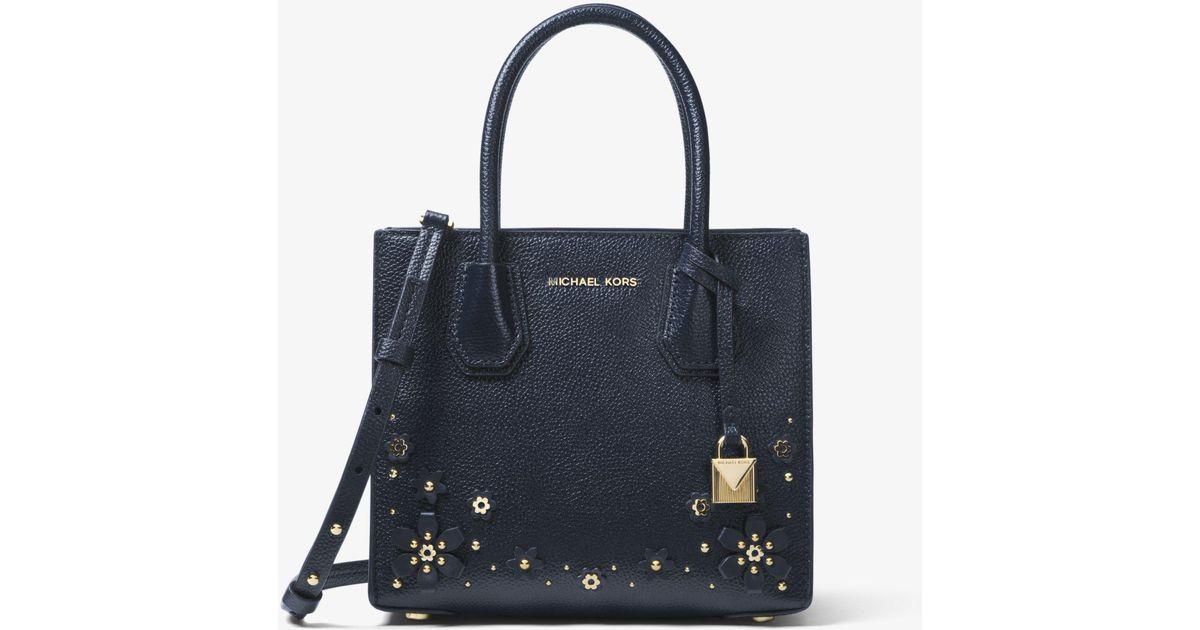 930a5c754c71 Michael Kors Mercer Floral Embellished Leather Crossbody Bag - Lyst