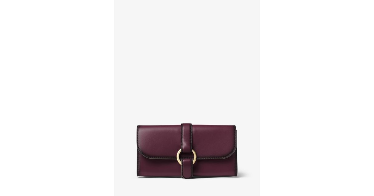 4e0ccf74c2cebd Michael Kors Quincy Large Leather Wallet in Purple - Lyst