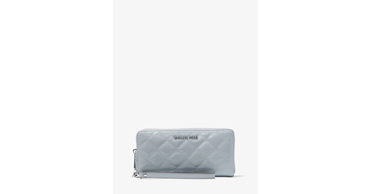 00eaa36e13f9 Lyst - Michael Kors Jet Set Travel Quilted-leather Continental Wristlet in  Gray