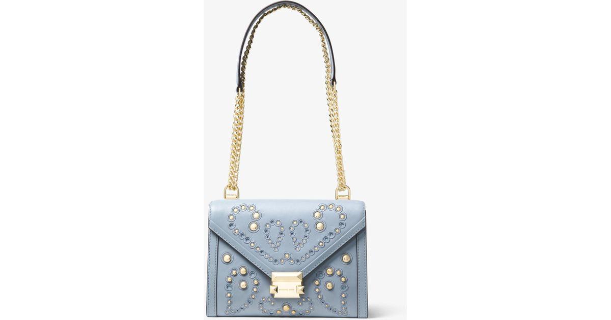 799500dc7c11 Lyst - Michael Kors Whitney Large Embellished Leather Convertible Shoulder  Bag in Blue