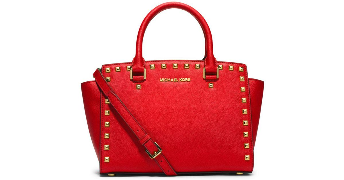 d75ce63d031951 0a539 2d54a; low price lyst michael kors selma medium studded saffiano  leather satchel in red 6e44e b1c52