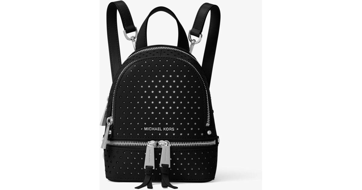 cdf3ec123847 Michael Kors Rhea Mini Perforated Leather Backpack in Black - Lyst