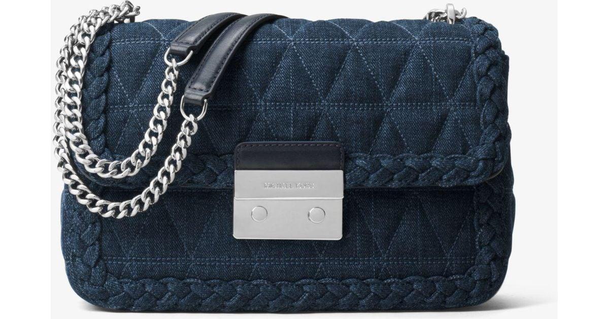 0c014f61b4dc Michael Kors Sloan Large Quilted-denim Shoulder Bag in Blue - Lyst