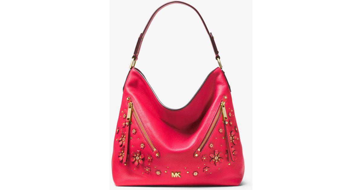 2a90778eb2a1 ... coupon for lyst michael kors evie large floral embellished pebbled  leather shoulder bag in pink 77283