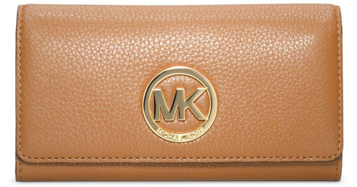66204e276900 ... Lyst - Michael Kors Fulton Leather Carryall Wallet in Brown ...