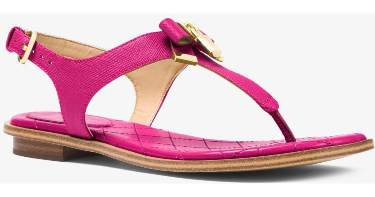 84e926847252 Lyst - Michael Kors Alice Saffiano Leather Sandal in Pink