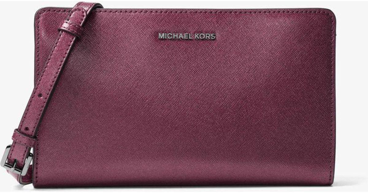 c5899b19adae Michael Kors Jet Set Travel Large Convertible Leather Crossbody in Purple -  Lyst