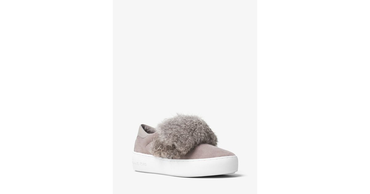 4ecbd793cbe Michael kors Maven Fur And Suede Slip-on Sneaker in Gray