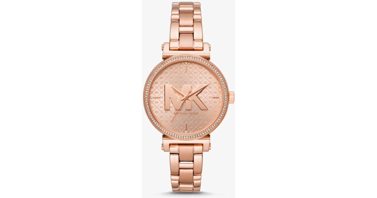 8919c2e8ce3c Lyst - Michael Kors Sofie Rose Gold-tone Watch