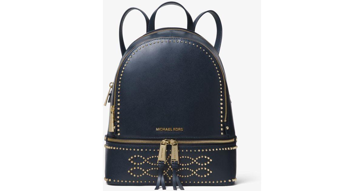 76007c54e28dd Michael Kors Rhea Medium Studded Leather Backpack in Blue - Lyst