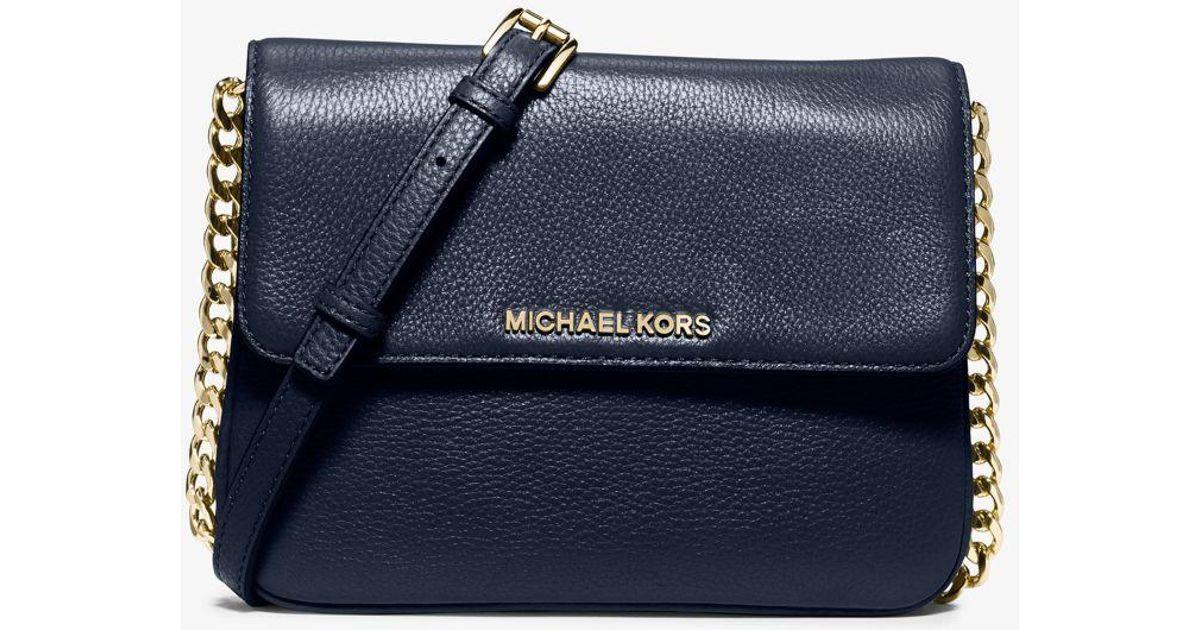 83af2345b2cdad Michael Kors Bedford Leather Cross-Body Bag in Blue - Lyst