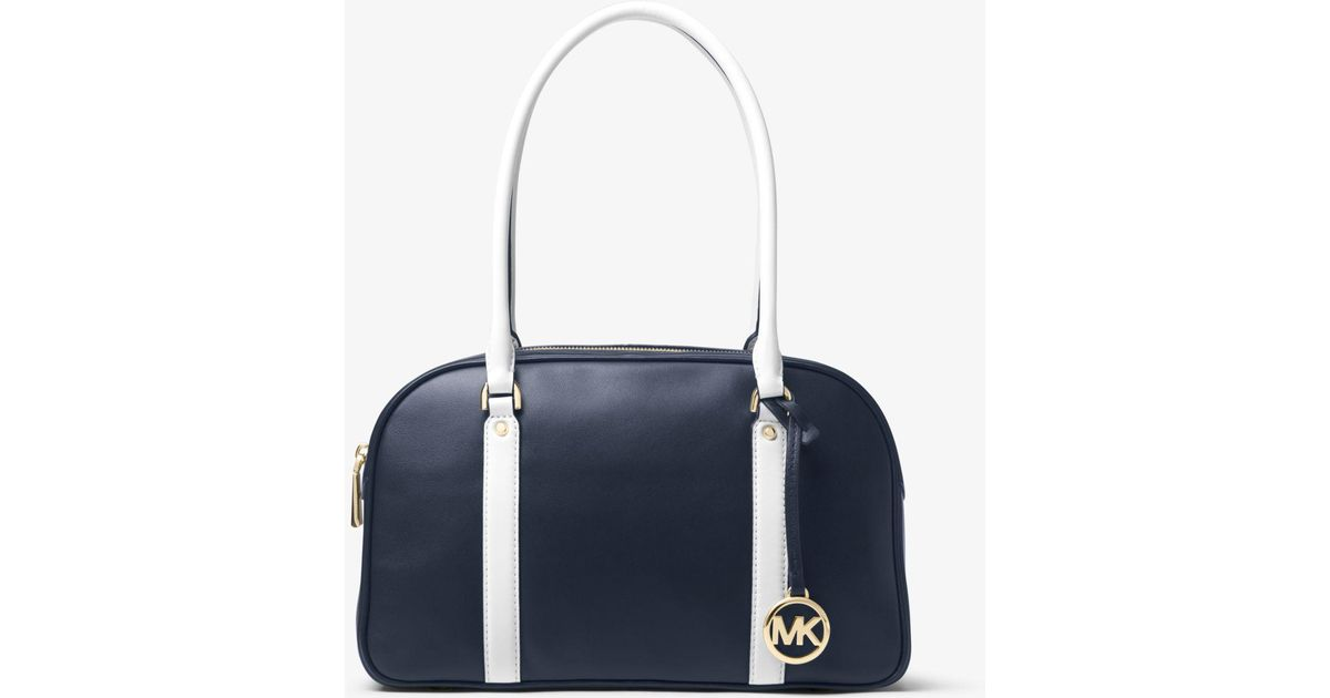 e41a5da70ed1 Lyst - Michael Kors Chatham Leather Bowling Satchel in White