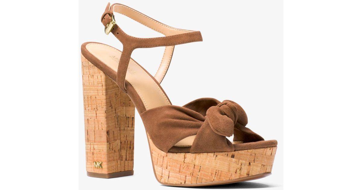53aebe99c7 Michael Kors Pippa Suede Platform Sandal - Lyst