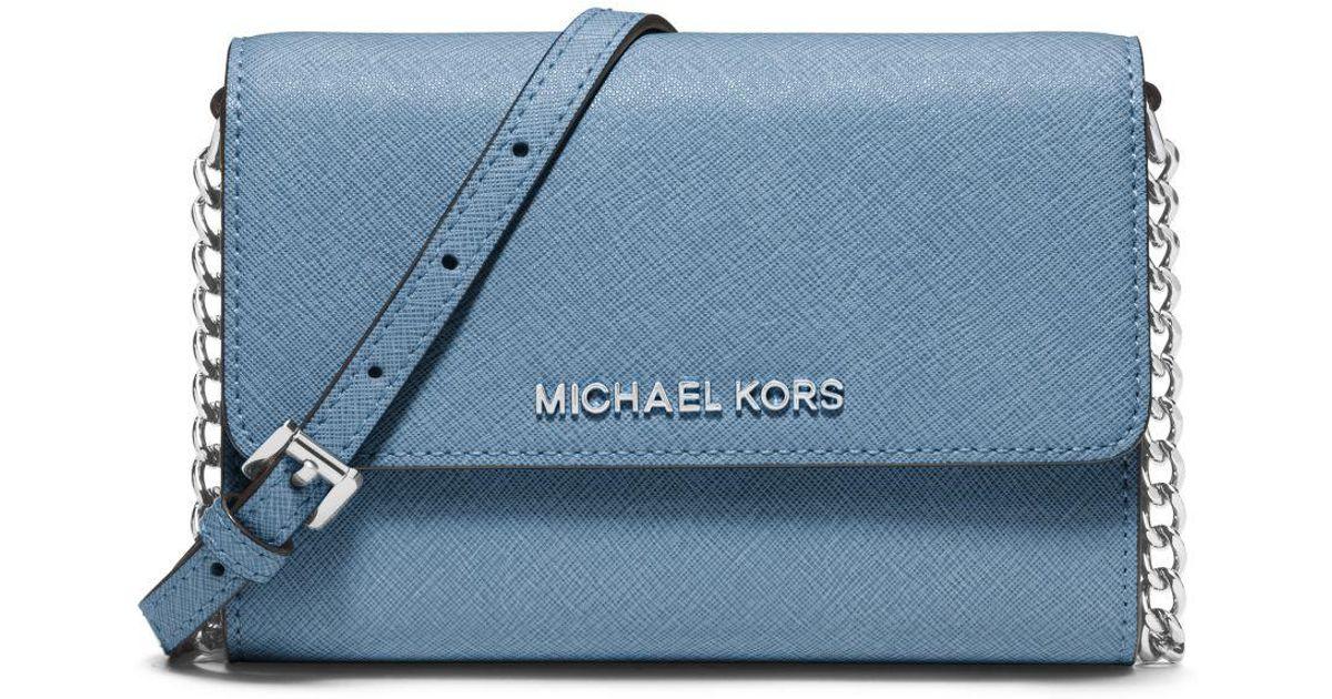 f1b5a34b61f8 Lyst - Michael Kors Jet Set Travel Saffiano Leather Smartphone Crossbody in  Blue