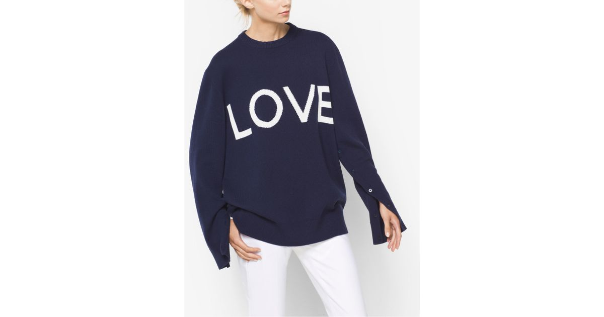 7726d0a1aad9cf Michael Kors Love Intarsia Cashmere Oversized Pullover in Blue for Men -  Lyst