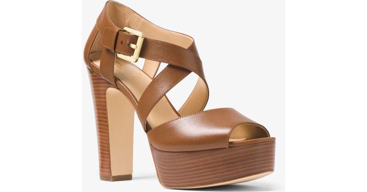 633a6e9f92 Michael Kors Jodi Leather Platform Sandal in Brown - Lyst