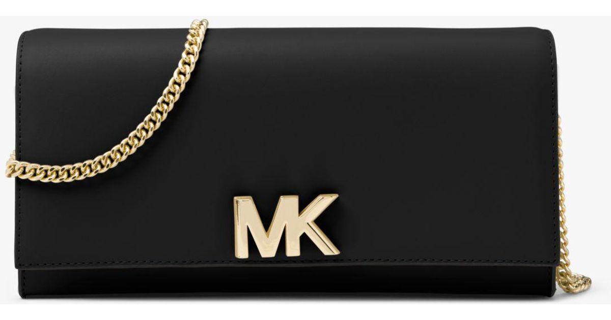 6b8c253b376f Michael Kors Mott Leather Chain Wallet in Black - Lyst
