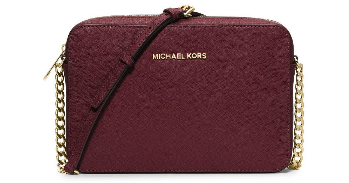 lyst michael kors jet set large saffiano leather crossbody in purple rh lyst com