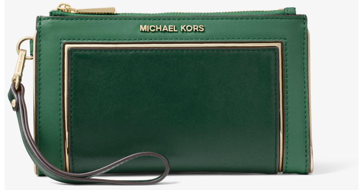 Lyst - Michael Kors Adele Two-tone Leather Smartphone Wallet in Green ef026f57b5452