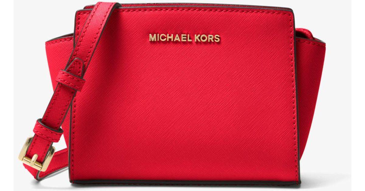 045a27aa9f8d Lyst - Michael Kors Selma Mini Saffiano Leather Crossbody in Red