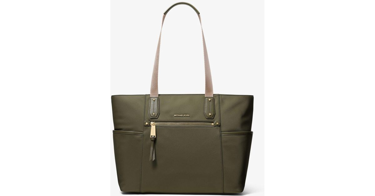 c31370ae5631 Lyst - Michael Kors Polly Large Nylon Tote in Green