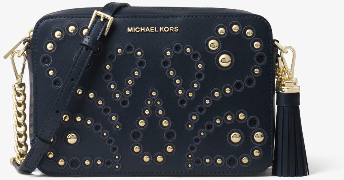 c113d2e29ced Lyst - Michael Kors Ginny Medium Embellished Leather Crossbody