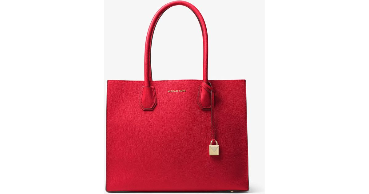 a7dee2843 Michael Kors Mercer Extra-large Pebbled Leather Tote Bag in Red - Lyst