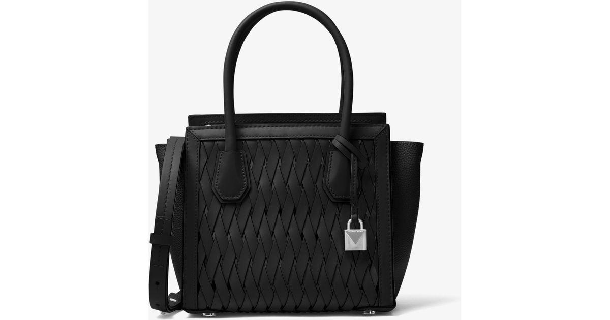 167807f7b936 Michael Kors Mercer Studio Woven Leather Crossbody Bag in Black - Lyst