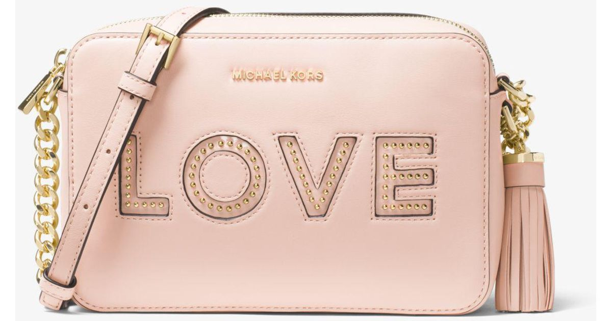 1c5964d71defd Lyst - Michael Kors Ginny Love Leather Crossbody in Pink